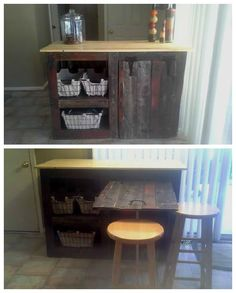 Pallet Island Table #KitchenIsland, #PalletStorage, #PalletTable, #ReclaimedPallet, #UpcycledPallet, #Wood