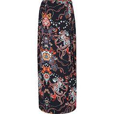 Blue paisley print wrap maxi skirt $76.00