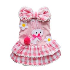 Sweetie Pink Dog Dress Tiered Pet Dress Cozy Plaid Dog Shirt Dog Clothes Free Shipping,S