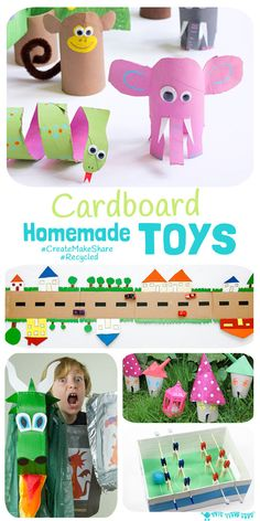 Inspire creativity and imaginative play with recycled Cardboard Homemade Toys! Kids will love to play with something they've helped to make and it's great for building their environmental awareness too.