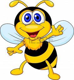 Cute bee cartoon waving  Stock Photo - 18586392