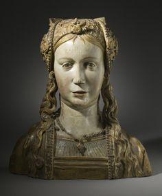 Reliquaire Buste | LACMA collections. Flandre, Brabant, circa 1510 Sculpture Polychromé et doré bois avec charnières, couvercle doublé de tissu sur le dessus de la tête (41,91 x 38,10 x 17,78 cm)