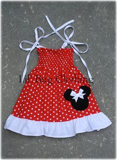 Red White Polka Dot Minnie Mouse Smocked Dress White Trim.  Please include size and date needed by in message box upon check out.  Available in sizes 3m 6m 9m 12m 18m 2T 3T 4T 5T 6 7 8 9 10 Girls.