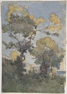 iamjapanese:  Henri Joseph Harpignies(French, 1819-1916) Landscape  1900 Watercolor, graphite