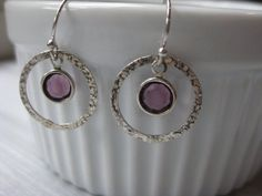 Sterling Silver Hammered Circle Earrings Birthstone by ESDesigns14