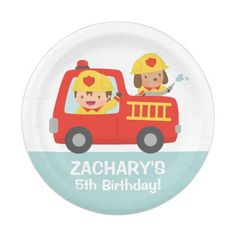 Fire fighter Boy in Red Fire Truck Birthday Party Paper Plate  sc 1 st  Pinterest & Red Motorcycle Bike Custom Paper Plates | Red birthday party and ...