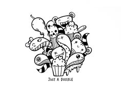 Just A Doodle (Pic Candle) Tags: blackandwhite abstract cute art fun drawing cartoon doodle cupcake Easy Doodle Art, Doodle Art Designs, Doodle Art Drawing, My Doodle, Tangle Doodle, Wall Drawing, Doodles Kawaii, Cute Doodles, Awesome Doodles