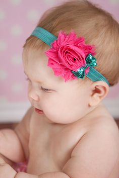 Chiffon and sequin Headband  Newborn Baby and Toddler girl hair bow shabby chic