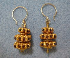 """""""Stacked style"""" earrings free project at BeadandButton.com"""