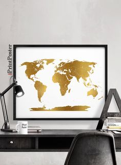 Modern world map wall stickers stencil black vinyl mural decals man world map gold detail world map world map with simulation of gold world map poster world map print home decor wall decor iprintposter gumiabroncs Image collections