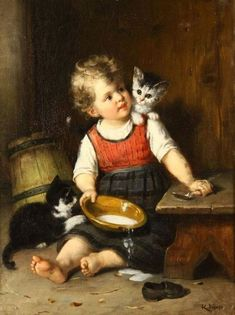 Art History Paintings in American History – Viral Gossip Paintings I Love, Love Painting, Animal Paintings, Beautiful Paintings, Art Paintings, Art And Illustration, Cottage Art, I Love Cats, Online Art Gallery