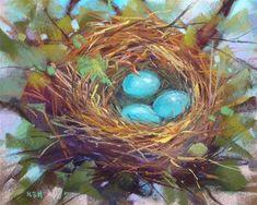 """Technique for Painting a Bird Nest in Pastel"" - Original Fine Art for Sale - © Karen Margulis"
