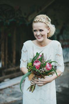 protea wedding bouquet // photo by Shane Shepherd, flowers by Elyssium Blooms // http://ruffledblog.com/byron-bay-farm-wedding