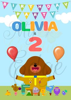 Hey Duggee - Personalised Birthday Poster - A0 Size - Digital File Only by MyCreatve3dge on Etsy