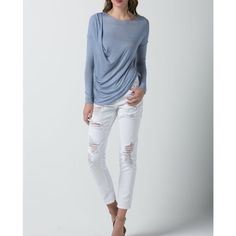 """""""Temperance"""" Draped Side Long Sleeve Top Long sleeve top with front drape detail. Simplicity is the ultimate sophistication. Junior sizing runs true to size. This listing is for the PERIWRINKLE. Also available in the color oatmeal. Brand new without tags. Bare Anthology Tops"""