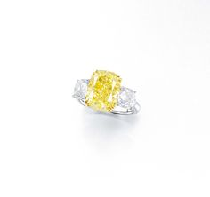 5.88 carat Fancy Intense Yellow Diamond Ring by Ronald Abram