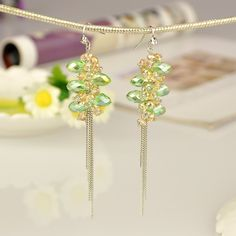 Fashion Glass Earrings, with Iron Chains and Brass Earring Hooks