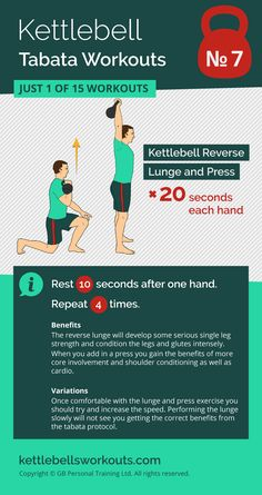 1 of 15 kettlebell tabata workouts, this one uses the full body kettlebell reverse lunge and press exercise that will condition your whole body in only 4 minutes. #kettlebell #fitness #kettlebellworkout #exercise