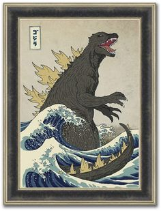 Add a super look to your home with The Stupell Home Decor Collection Godzilla in the Waves Eastern Poster Style Illustration by Michael Buxton Wood Wall Art. Wood Wall Art, Framed Wall Art, Frames On Wall, Canvas Wall Art, Canvas Prints, Wooden Frames, Hanging Canvas, Buy Frames, Abstract Canvas