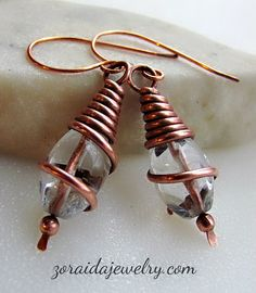 Faceted Rock Crystal (Clear Quartz) beads are wrapped in copper wire in these beautiful earrings. The quartz beads have a light and sparkle resembling water. The wire has been formed in a conical sha Wire Jewelry Earrings, Wire Wrapped Earrings, Small Earrings, Copper Earrings, Metal Jewelry, Crystal Earrings, Beaded Jewelry, Handmade Jewelry, Jewlery