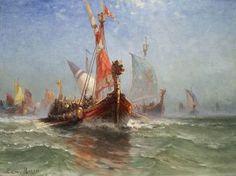 """""""Viking Fleet"""" Painting by Edward Moran https://www.oilpaintings.com/artists/Moran-Edward-539"""