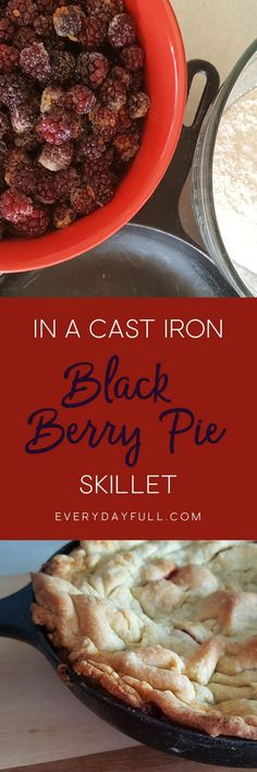 SKILLET BLACKBERRY PIE - Sweet berries and flaky pie crust, served up in a rustic cast iron skillet. This blackberry pie recipe is an impressive and delicious dessert and sure to be a winner for company. Grab a fork and scoot in close!