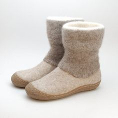 Felted wool boots with knitted felted top. Warm, durable, natural footwear for Autumn and Winter. Natural beige and brown shades of wool will fit to