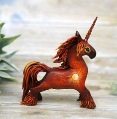 Unicorn Horse Figurine Animal Sculpture by Evgeny Hontor, Totem Fantasy polymer clay figures for Home decor, polymer clay animal for collecting. Painted and unpainted Animal Sculpture gifts for dragon lovers. Look at the best collection of 800+ miniatures of fantasy creatures, beasts and aliens #Unicorn