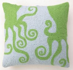 Hand-hooked wool throw pillow with a multicolor octopus motif. Product: PillowConstruction Material: Wool cover and polyester fillColor: Blue and greenFeatures: Hand-hookedInsert includedDimensions: 18 x 18 Cleaning and Care: Spot clean Ocean Home Decor, Coastal Decor, Coastal Nursery, Sea Nursery, Coastal Cottage, Coastal Style, Coastal Living, Wool Pillows, Throw Pillows
