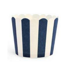 White & Navy Stripes - Baking Cups