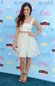Lucy Hale in Houghton at the Teen Choice Awards 2013 #fashion #croptop #floral