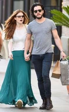 Kit Harington and Rose Leslie, Game of Thrones' Jon Snow and Ygritte, Show PDA on Shopping Trip Kit Harington, Rose Leslie