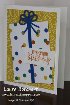 Birthday Present, Party Animal Designer Series Paper, Balloon Pop-Up Thinlits, Balloon Adventures Stampin' Up Stamp Set, Occasions Mini Catalog, www.LaurasStampPad.com