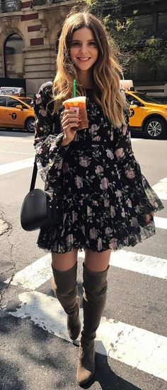 beautiful outfit : floral dress + bag + over the knee boots