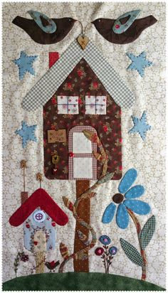Los Telares de Raquel: Mystery Quilt - Bloque 12#c3217931016227720694#c3217931016227720694 Hand Applique, Applique Patterns, Applique Quilts, Quilt Patterns, House Quilt Block, House Quilts, Quilt Blocks, Small Quilts, Mini Quilts