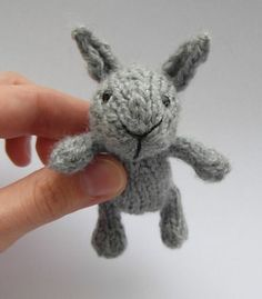 """Free Knitting Pattern for Little Baby Bunny - Quick little toy rabbit is just 9cm/3.5"""" (with ears, standing). Designed by Justyna Kacprzak"""