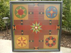 Primitive Wood Parcheesi Game Board Folk Art by JohnnyUNamath, $85.00