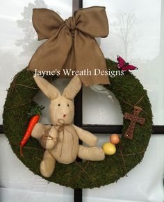 Classic Easter Wreaths with cross, bunny, carrot, eggs, and burlap