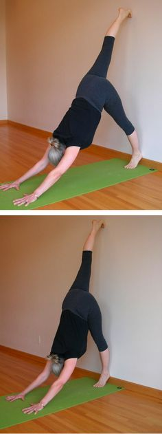 "Get a Leg Up on Downward Dog - Five-Minute Yoga - ""one of the best ways to bring even more ease into your dog pose is, paradoxically, to make it harder. Try this variation, and when you return to Adho Mukha Svanasana (downward dog pose), you may feel a new sense of ease."""