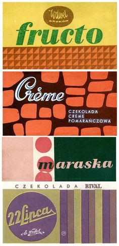 "Czekolada. ""Some old eastern block chocolate labels. Retro in the best possible way."""