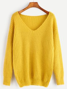 Yellow Ribbed Knit V Neck Drop Shoulder Sweater