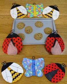 Hot Mitts Pot Grabbers Pattern, Pot Holders, Bugs by Susie C Shore Designs