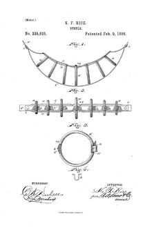 1886 Bustle using rings instead of a coil Patent US335625 - BUSTLE - Google Patents