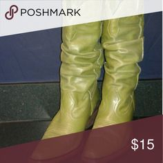 **ONE HOUR SALE**Leather Boots Green leather point toe boots.... super cute with skirts or shorts Shoes Heeled Boots