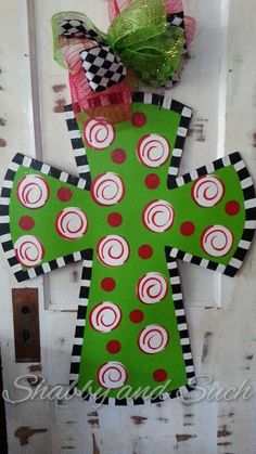 Cross Christmas Colors Swirls and Dots by shabbyandsuchdesigns