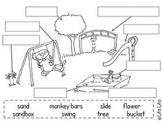 $Label School themed vocabulary worksheets. Music room, playground, art room, computer lab, library...
