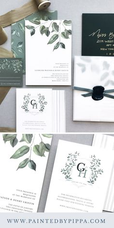 A dark green and vellum wedding invitation with watercolor greenery and monogrammed wedding crest. Grey Wedding Invitations, Watercolor Wedding Invitations, Wedding Stationary, Wedding Cards, Custom Invitations, Emerald Green Weddings, Sage Green Wedding, Monogram Wedding, Velvet Ribbon