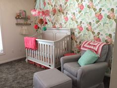 Peony Wallpaper Accent Wall in this Girly Chic Nursery