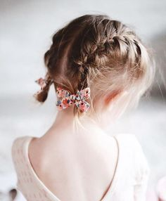 """Click to shop hand-tied pigtail set by Free Babes Handmade. Made by moms across the United States and guaranteed for life. Classic bows for your little girls free spirited style. // Rifle Paper Co. """"Peach Rosa"""" set."""