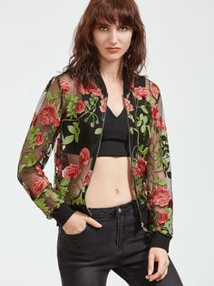 Shop Multicolor Rose Embroidered Zip Up Organza Bomber Jacket online. SheIn offers Multicolor Rose Embroidered Zip Up Organza Bomber Jacket & more to fit your fashionable needs.
